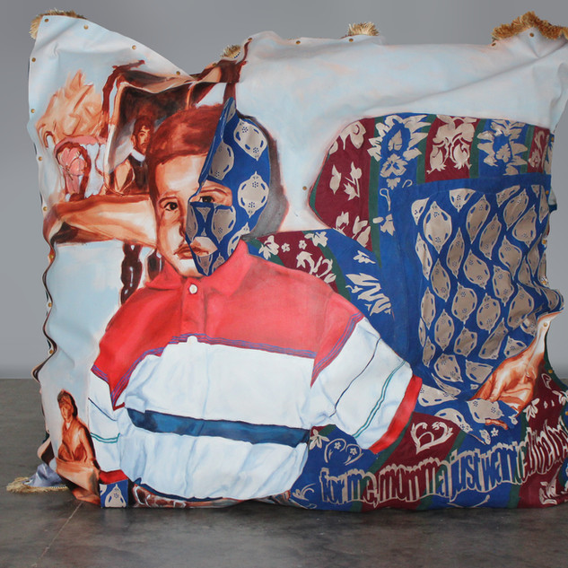 "Pillow Talk, 2020 64""x64""x20"" Acrylic on canvas, fabric and snap buttons"