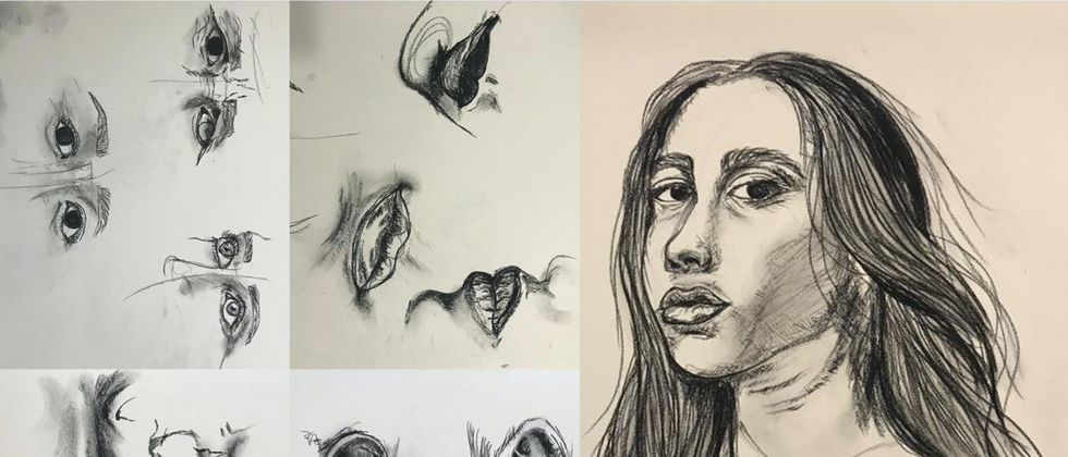 """Hannah Trostle, 2020 Charcoal on paper 14""""x11""""each page  Drawing III Figure Drawing Facial Features & Portrait Texas Tech University"""