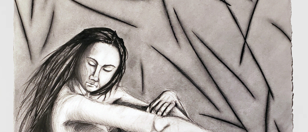 """Kiara Garcia, 2020 Graphite and ink on watercolor paper 30""""x22""""  Drawing III Figure Drawing Body in Situation Texas Tech University"""