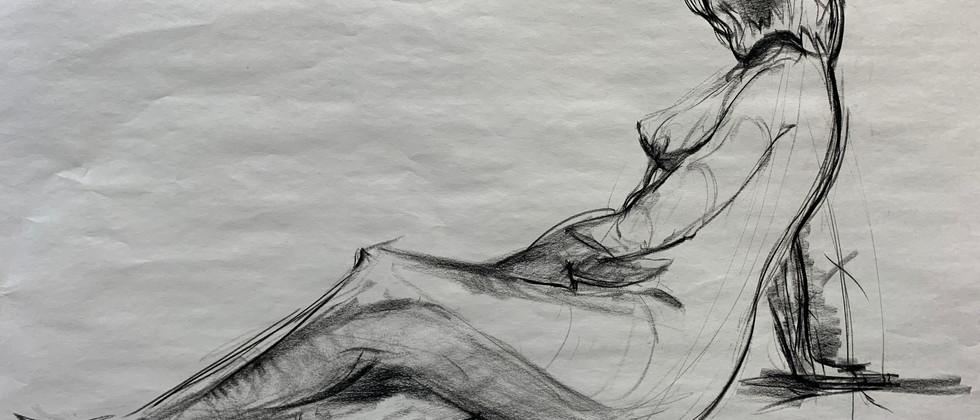 "Jon Akene, 2021 Charcoal on newsprint 24""x36""  Drawing III Figure Drawing Contour Drawing, 10 min Study Texas Tech University"