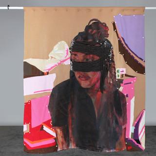 """Lucia, 2020 72""""x64"""" Acrylic on canvas, fleece, felt and snap buttons"""