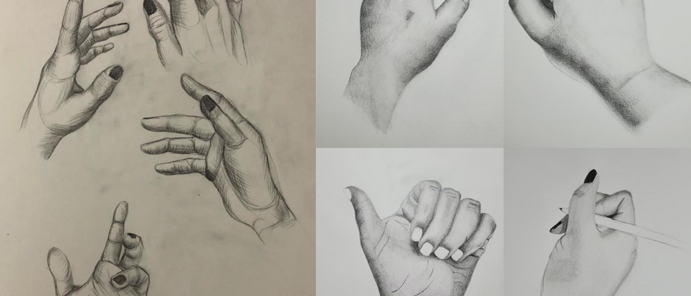 """Kaelyn Franks, 2020 Graphite on paper 14""""x11"""" each page  Drawing III Figure Drawing Hand Studies, 15 min Drawings Texas Tech University"""