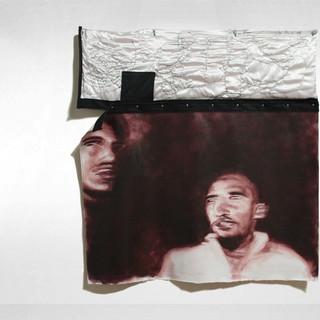 """Haveahome, 2019 48""""x48""""x1"""" Acrylic on canvas, thread on satin and black denim"""