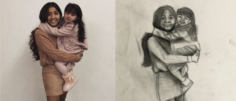 """Angelica Murillo, 2021 Charcoal and graphite on paper 14""""x11""""  Drawing III Figure Drawing Contemporary Domesticity - Family Photograph Texas Tech University"""