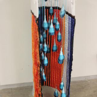 "El Cucuy, 2020 96""x24""x58"" Satin, ribbon, wood and curtain rod"