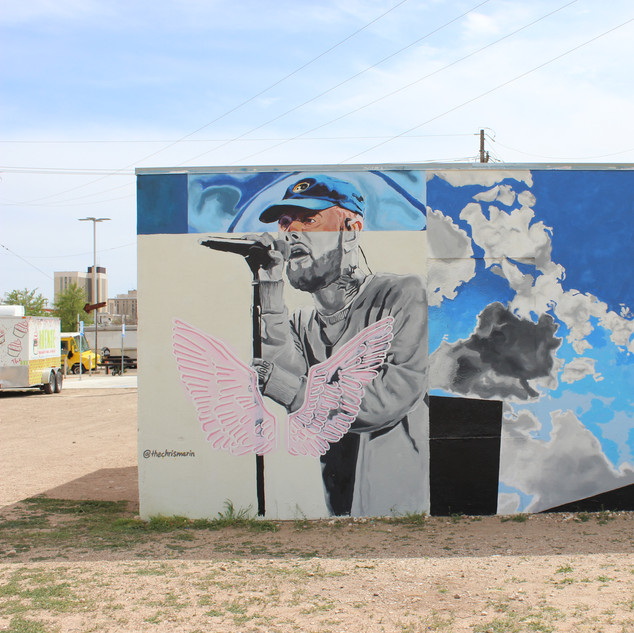 "Mac Miller Mural, 2019 120""x240"" Latex and acrylic on wall Lubbock, TX on Charles Adams Studio Project (CASP) campus"