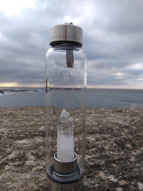 Clear Quartz Crystal Elixir Water Bottle