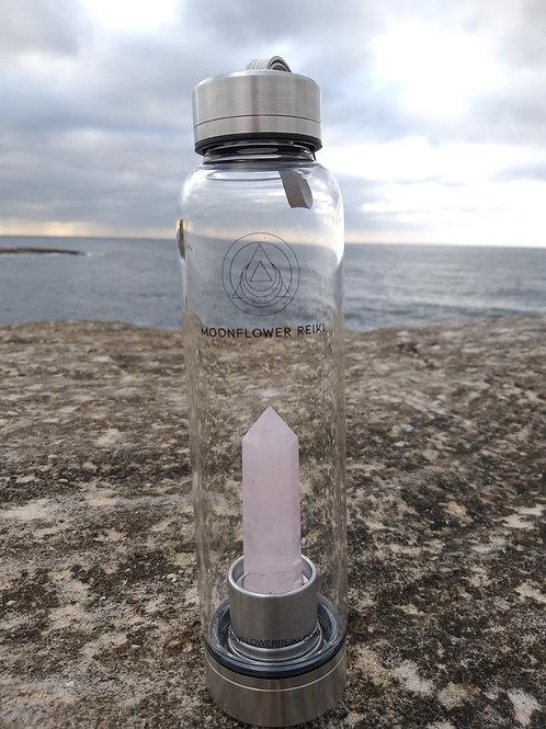 Rose Quartz Crystal Elixir Water Bottle