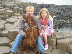 Jan ,Immy and Raff at The Giant Causeway in Ireland