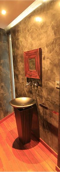 Pedestal baño en madera Zebrano