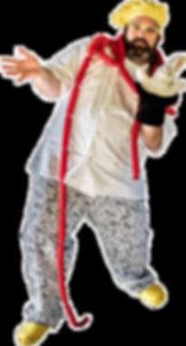 Chef Bananas kids magician with hot dog