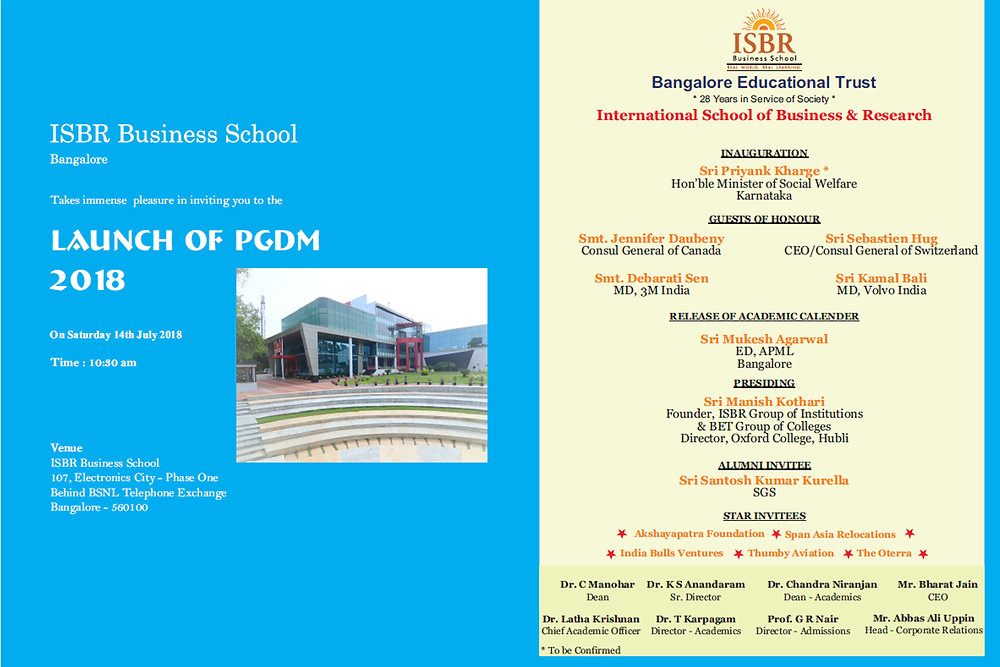 ISBR Business School - Launch of PGDM 2018 - Invitation