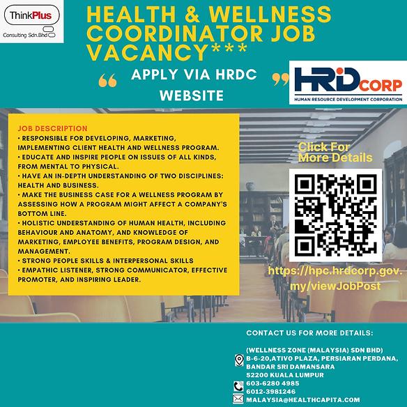HEALTH & WELLNESS COORDINATOR JOB VACANC