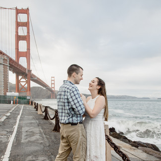 crissy field, engagement and rain