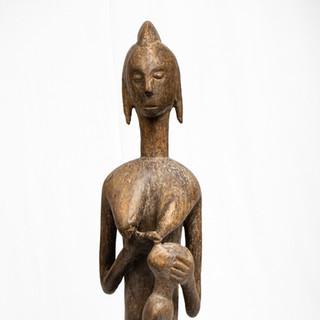 Wood seated female figure
