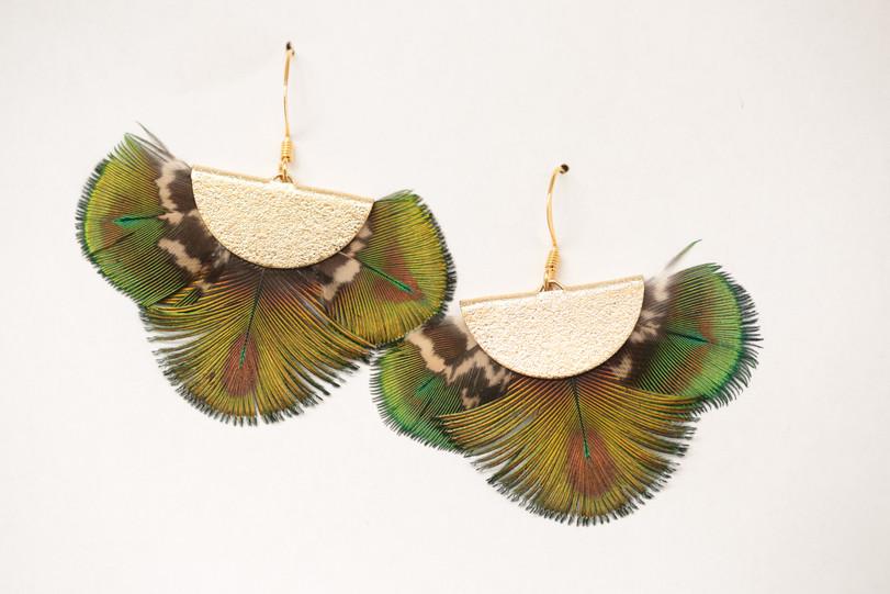 Boucles d'oreilles Pouvoir Amon, en plumes de Paon