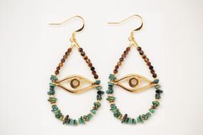 Attrape Rêve en Turquoise et Oeil de Tigre
