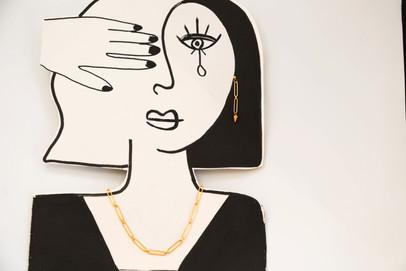 Collier et boucles d'oreilles Protection, Plaqué Or, Paula Blache Bijoux Création