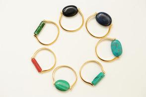 Des Bagues Super Pouvoir en pierre veritables: Onyx, Lapis, Turquoise, Malachite, Gorgoene