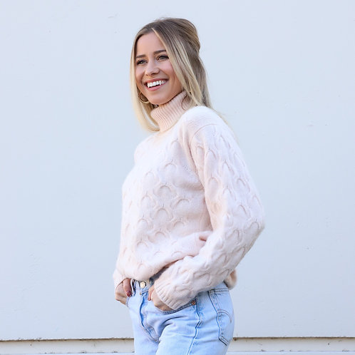 Blush Pink Cashmere Turtleneck Sweater