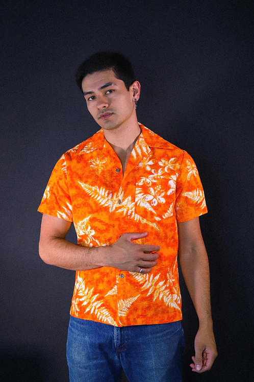 Orange Bark Cloth Aloha Shirt