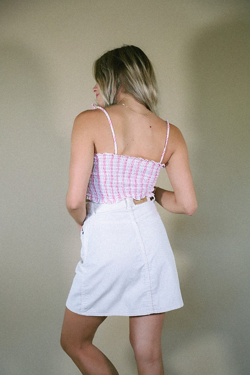 70s Levi's White Corduroy Skirt