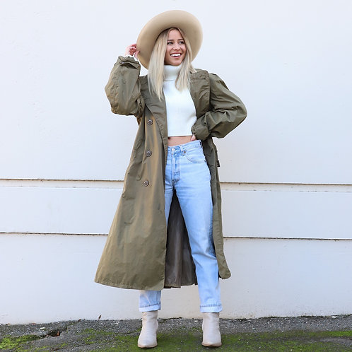 50s Taupe Military Trench Coat