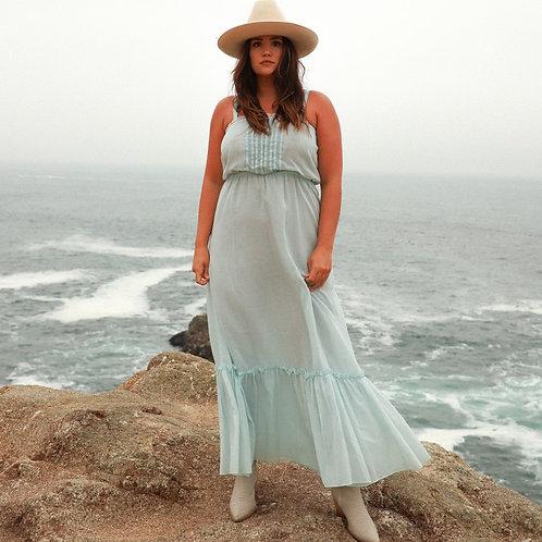 70s Light Blue Prairie Dress