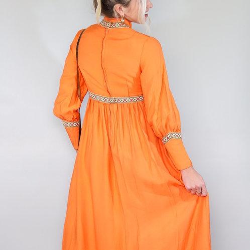 70s Boho orange Maxi Dress