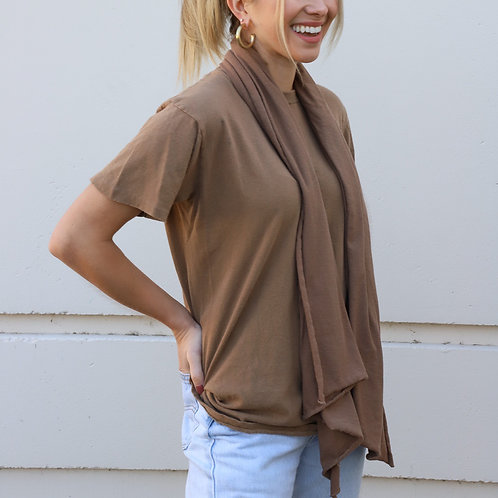 Vintage Brown Tonal T-Shirt & Scarf