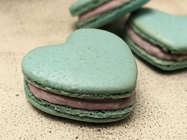 Blueberry Marscapone Heart Macarons