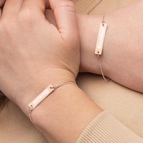 Gemini Engraved Bar Chain Bracelet