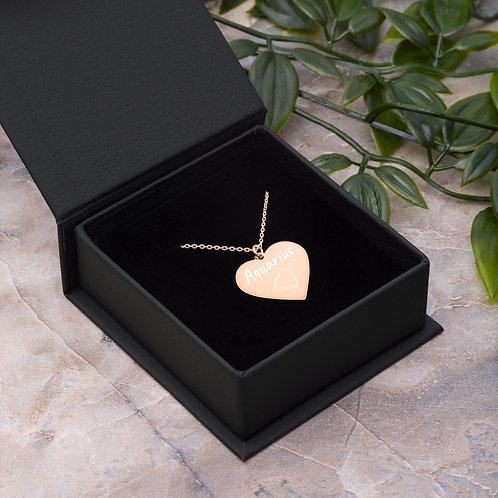 Aquarius Engraved Heart Necklace