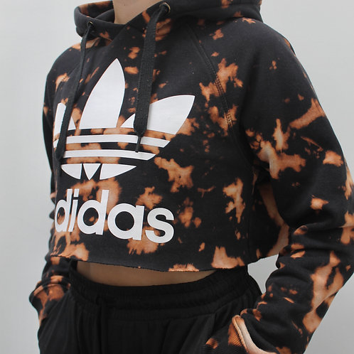 ACID DYED ADIDAS CROPPED HOODIE- SMALL
