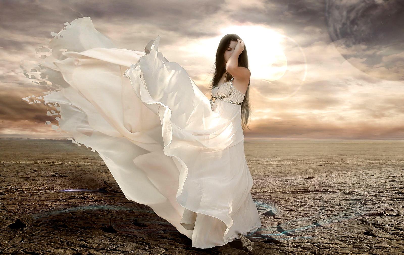 Mujer vestido blanco