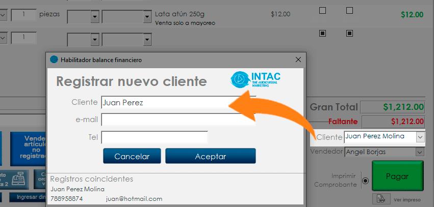 captura registro cliente y datos de contacto