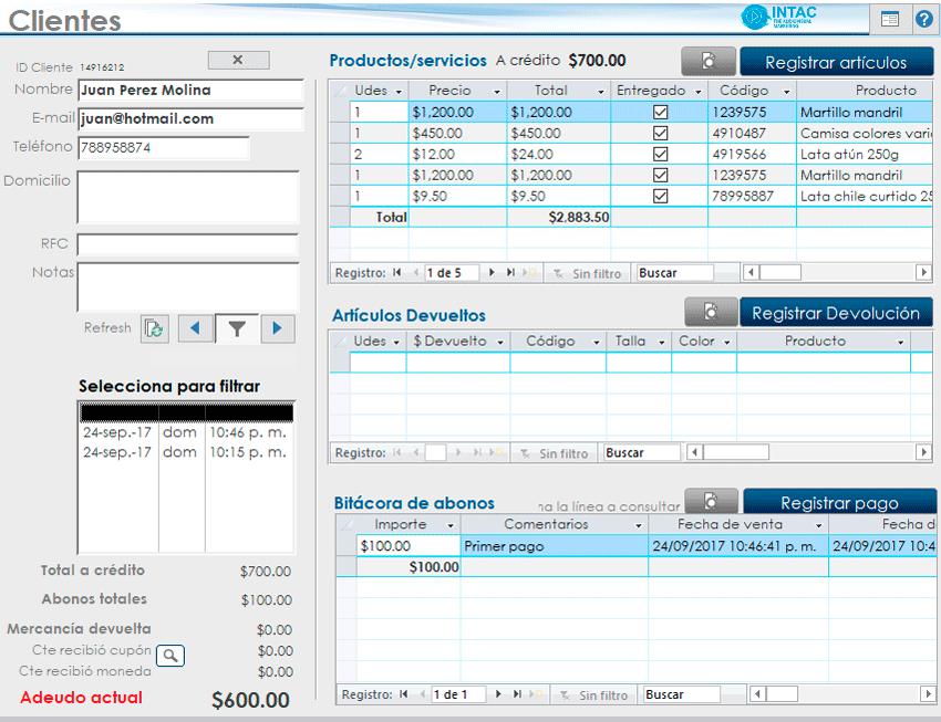 captura panel de clientes sistema