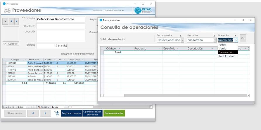 Tabla de operaciones por proveedor