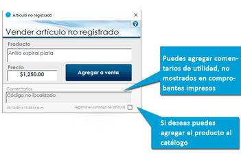 Venta de artículos no registrados (Caja registradora)