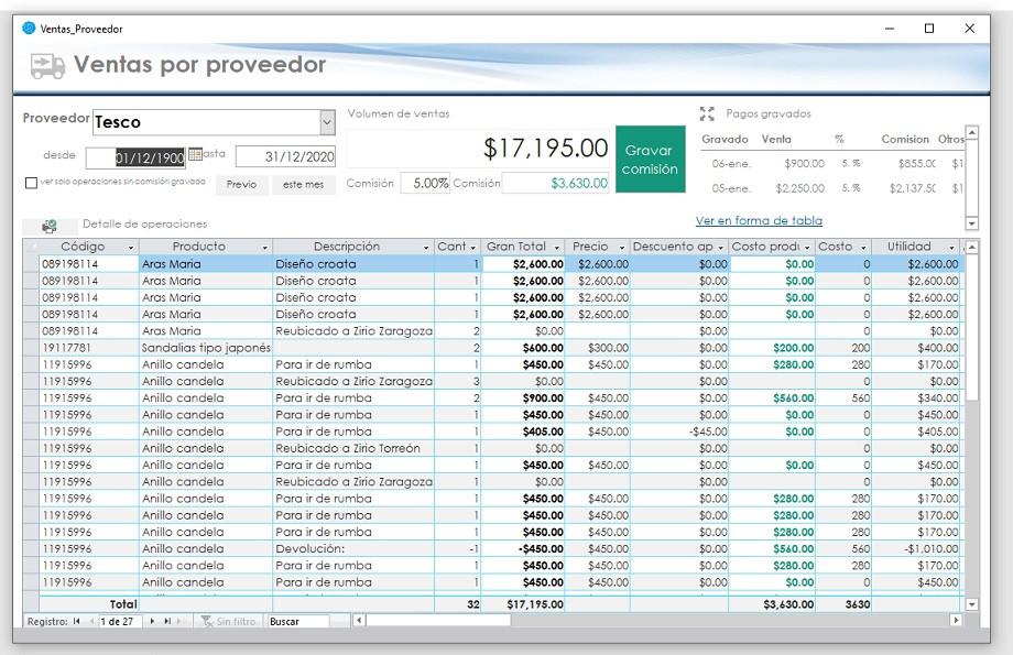 Captura tabla de ventas por proveedor