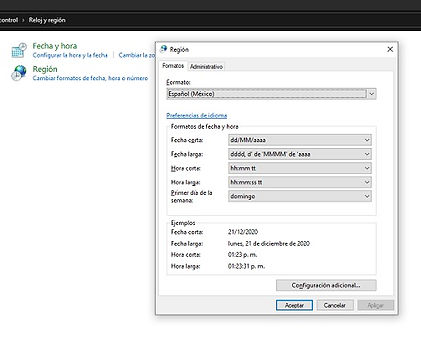 captura de pantalla region_ Windows 10