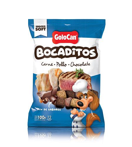 GOLOCAN BOCADITOS CARNE, POLLO, CHOCOLATE X 100 GRS