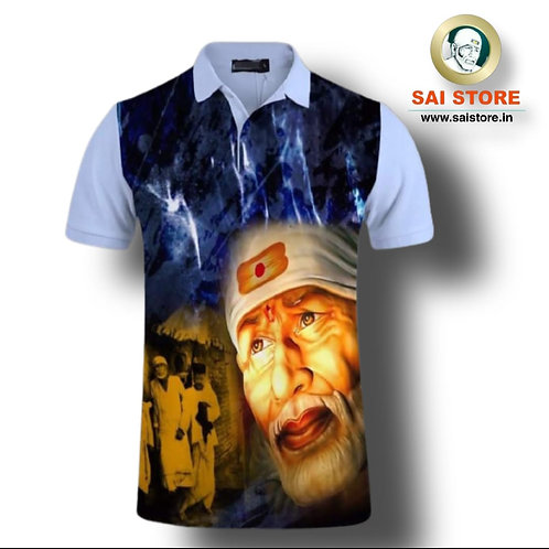 Sai Palkhi T- SHIRT 3D (Light Blue- White)