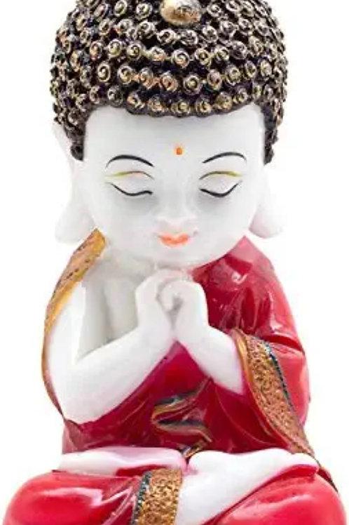 Little Baby Monk Buddha Showpiece, Standard, Red & White, 1 Piece