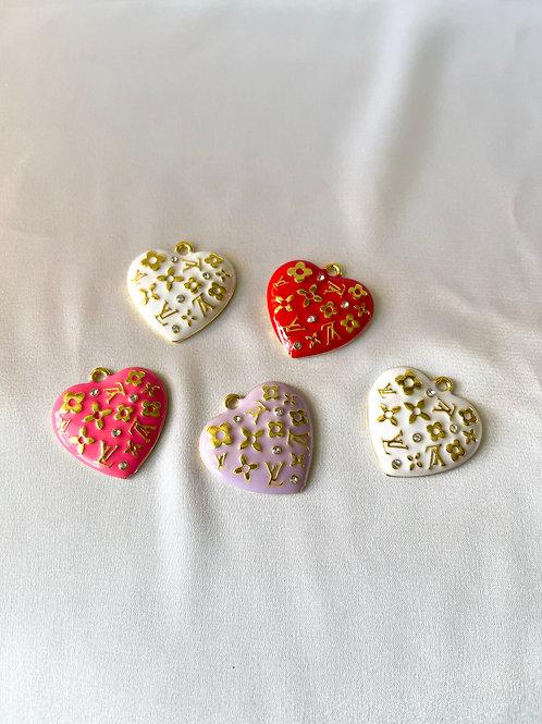 LV Pattern Heart Necklace