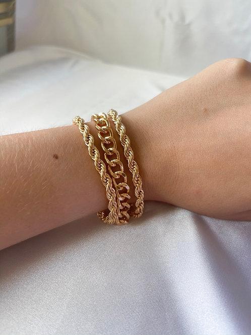 Triple Chunky Chain Bracelet Set