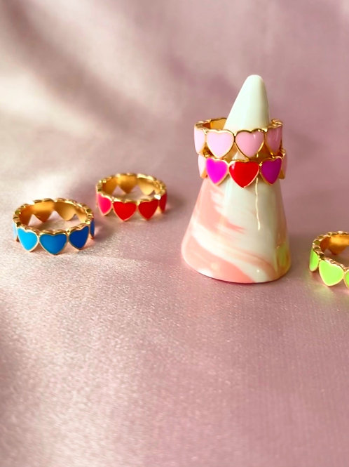 Colored Heart Rings