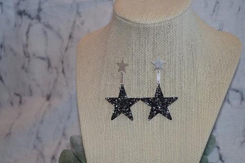 Black Glitter Star Earrings