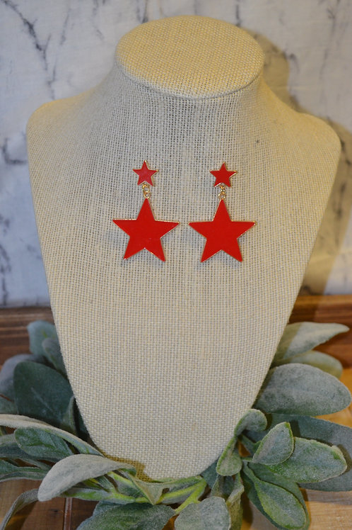 Acrylic Red Star Earrings