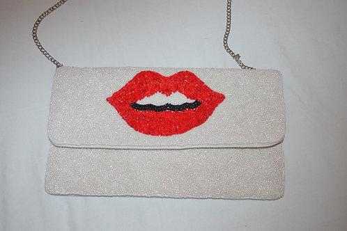 Beaded Crossbody Clutch - Lips